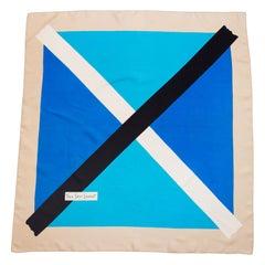 1980s Yves Saint Laurent Color Block Silk Scarf
