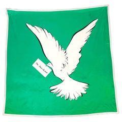 1980's Yves Saint Laurent Dove of Peace Silk Scarf
