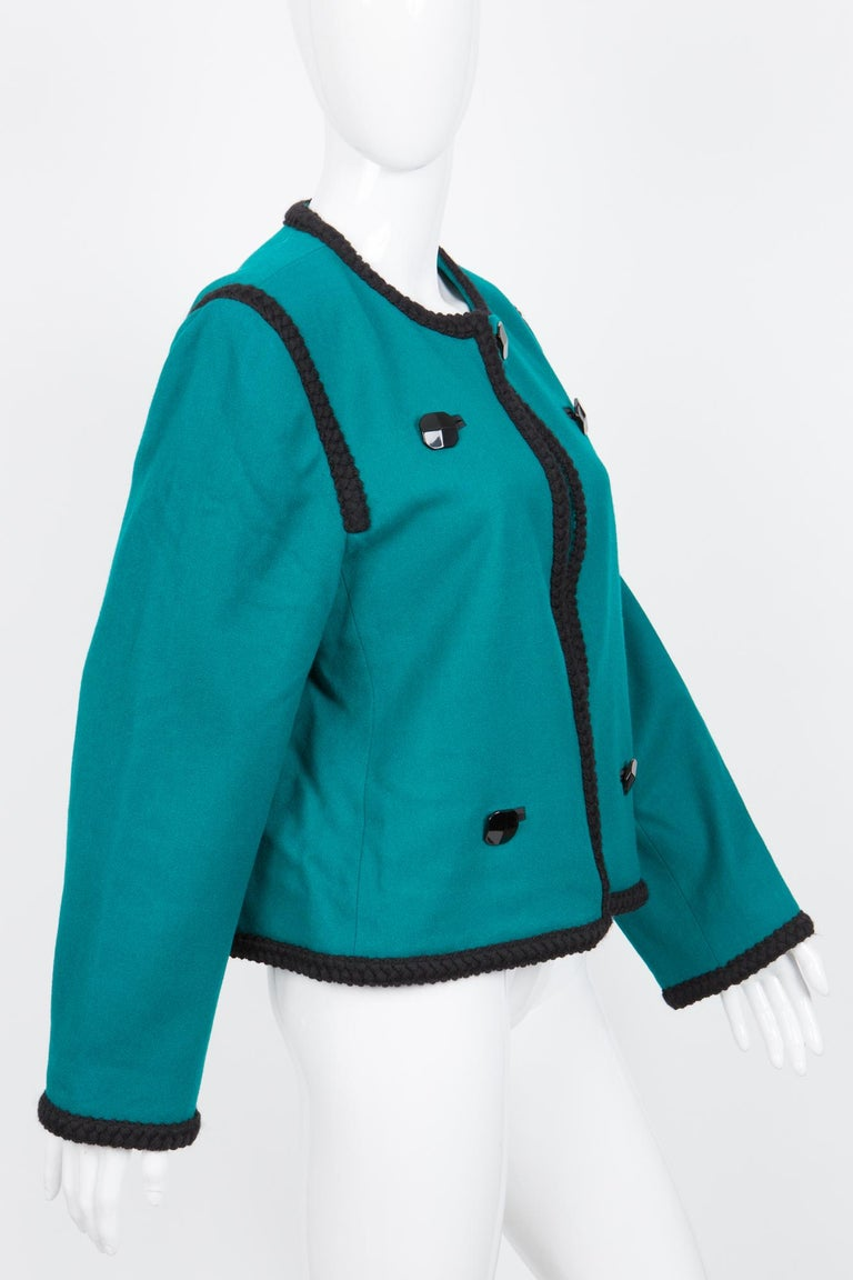 1980s Yves Saint Laurent Emerald Green Iconic Jacket In Excellent Condition For Sale In Paris, FR