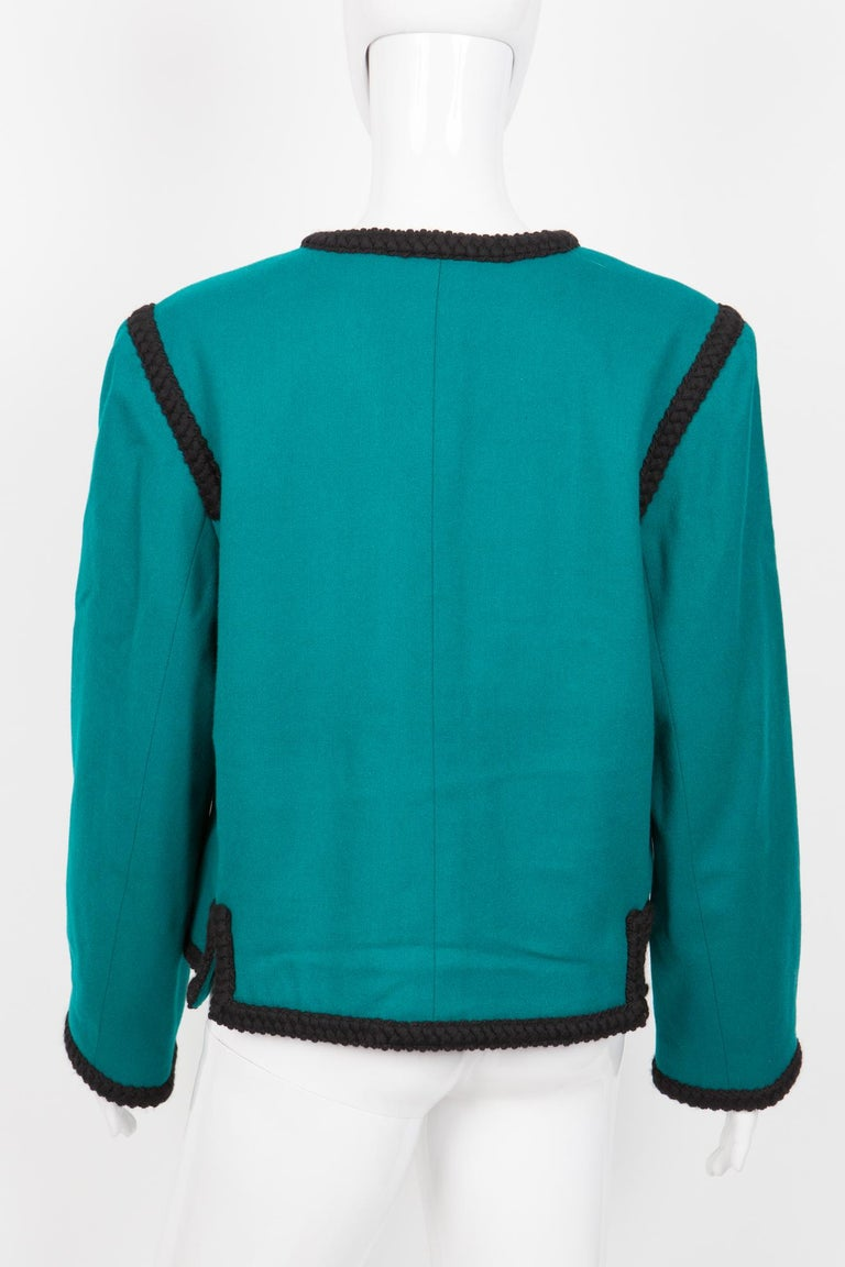 Women's 1980s Yves Saint Laurent Emerald Green Iconic Jacket For Sale