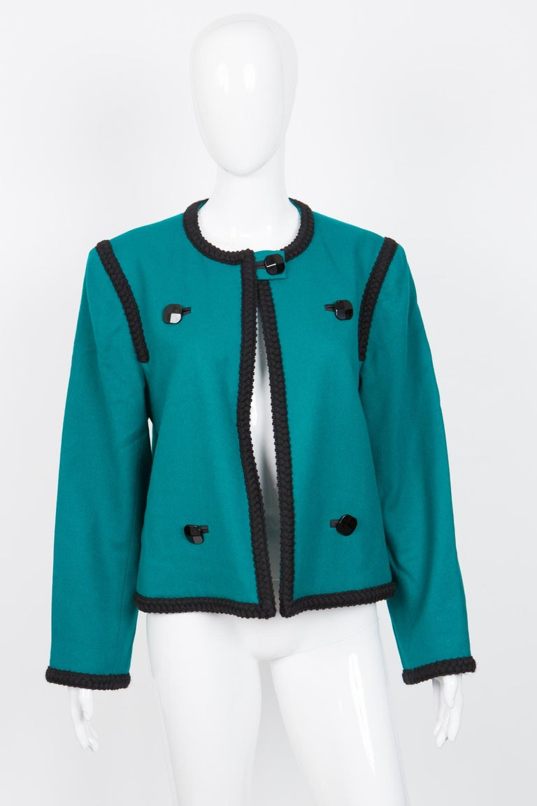 1980s Yves Saint Laurent Emerald Green Iconic Jacket For Sale 1