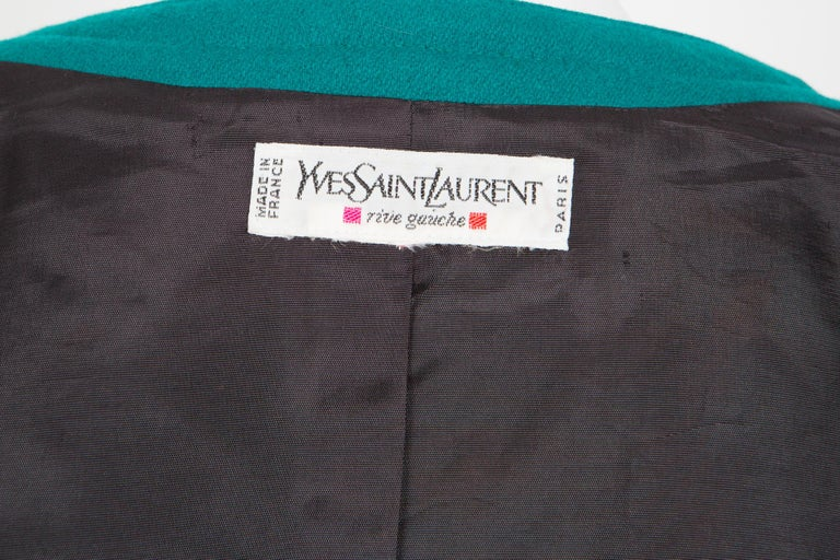 1980s Yves Saint Laurent Emerald Green Iconic Jacket For Sale 2