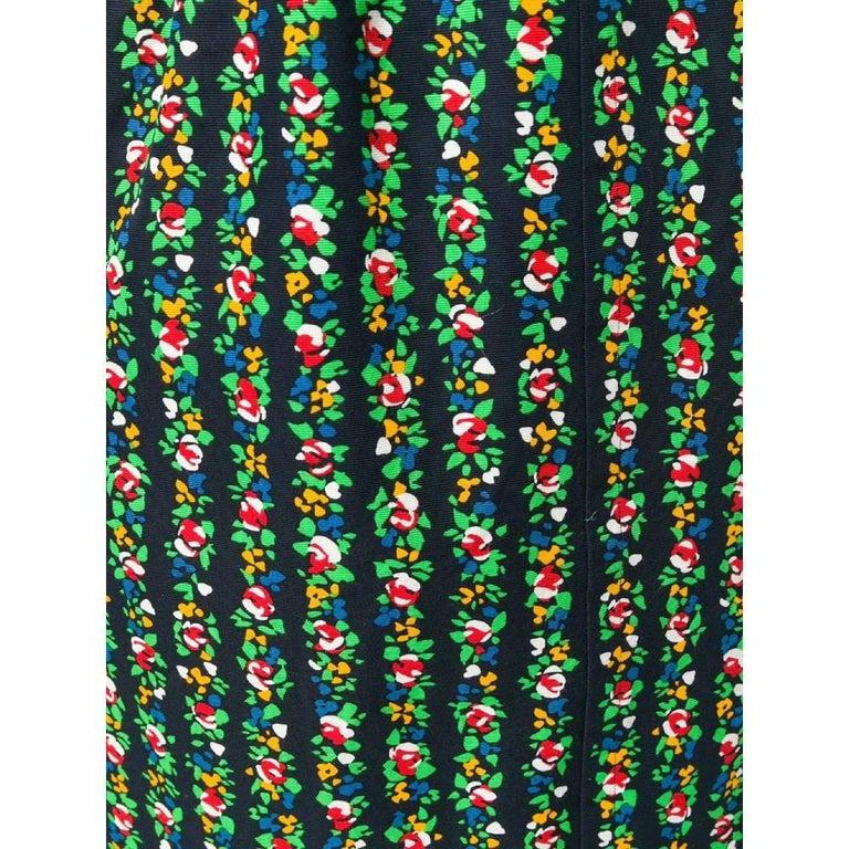 Women's 1980s Yves Saint Laurent Floral Straight Skirt For Sale