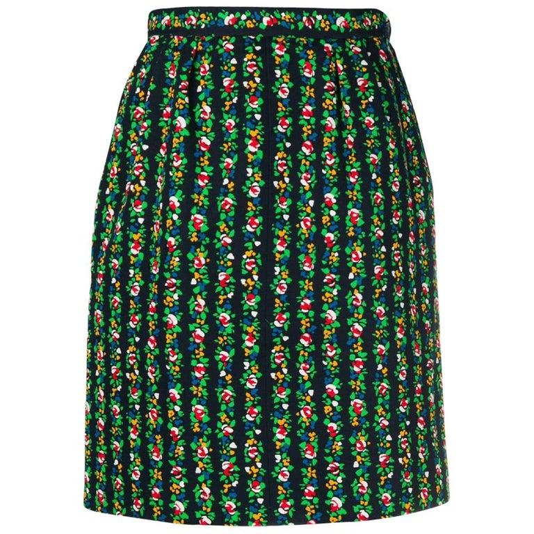 1980s Yves Saint Laurent Floral Straight Skirt For Sale