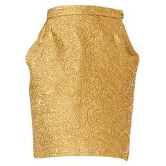 1980S YVES SAINT LAURENT Gold Lamé Pencil Skirt