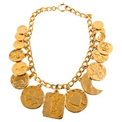 1980s Yves Saint Laurent Gold Plated Charms Chunky Chain  Necklace