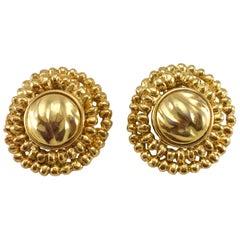 1980's Yves Saint Laurent Gold-Plated Round Clip-On Earrings by Robert Goossens