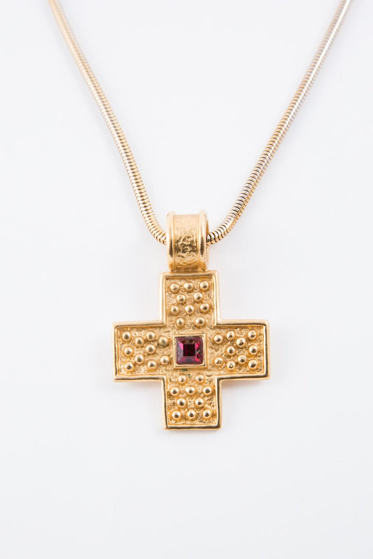 Women's  1980s Yves Saint Laurent Gold Tone Cross Necklace    For Sale