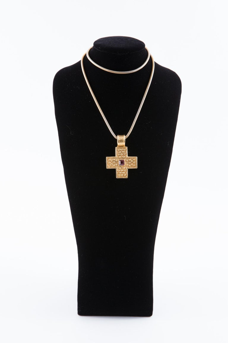 1980s Yves Saint Laurent Gold Tone Cross Necklace    For Sale 1