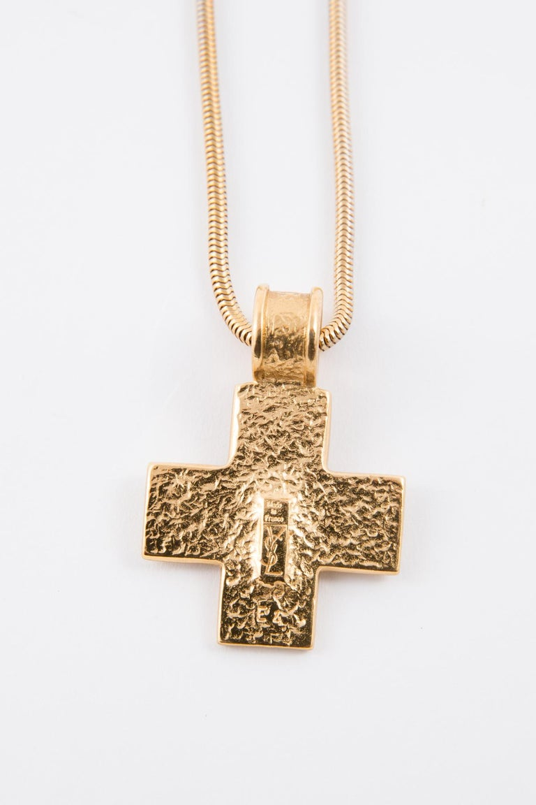 1980s Yves Saint Laurent Gold Tone Cross Necklace    For Sale 2