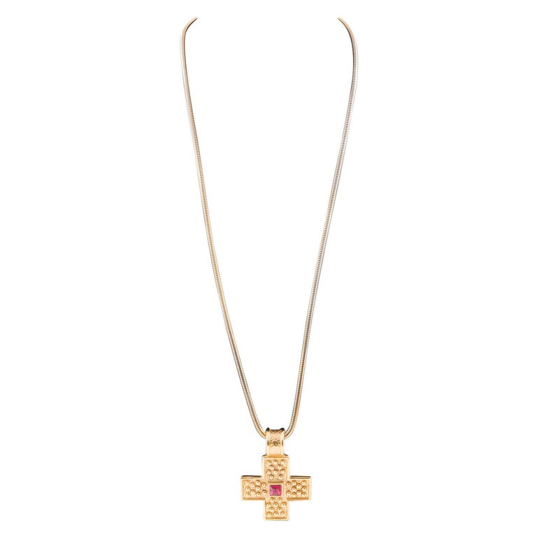 1980s Yves Saint Laurent Gold Tone Cross Necklace    For Sale