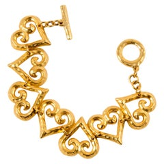 1980s Yves Saint Laurent Gold Tone Hearts Chain Bracelet