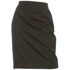 1980S YVES SAINT LAURENT Green Haute Couture Wool Skirt
