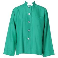 1980s Yves Saint Laurent Green Silk Shirt