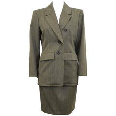 1980s Yves Saint Laurent Khaki Wool Skirt Suit