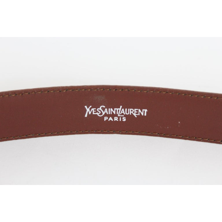 1980s Yves Saint Laurent Leather Brown Belt  In Excellent Condition For Sale In Brindisi, Bt