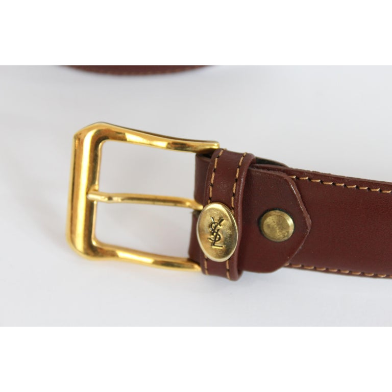 1980s Yves Saint Laurent Leather Brown Belt  For Sale 2