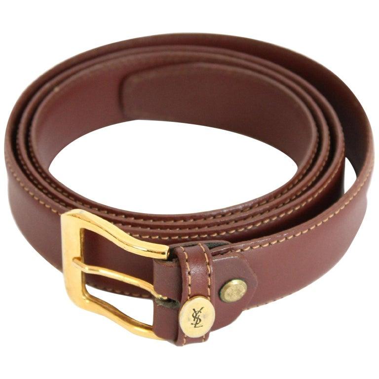 1980s Yves Saint Laurent Leather Brown Belt  For Sale