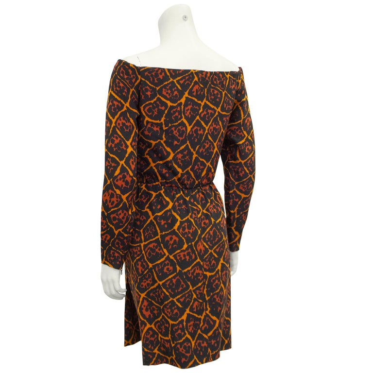 1980s Yves Saint Laurent Leopard/Giraffe Print Off The Shoulder Dress  In Good Condition For Sale In Toronto, Ontario