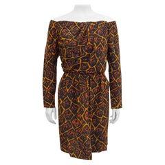 1980s Yves Saint Laurent Leopard/Giraffe Print Off The Shoulder Dress