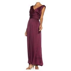 1980S YVES SAINT LAURENT Merlot Haute Couture Silk Satin Draped Gown With Sash