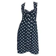 1980s Yves Saint Laurent Navy Blue + White Polka Dot Vintage 80s Silk Dress YSL