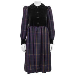 1980s Yves Saint Laurent Purple Tartan and  Black Velvet Peasant Dress