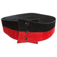 1980s Yves Saint Laurent Red and Black Corset Belt