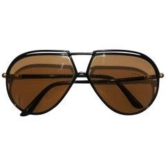 1980s Yves Saint Laurent Red injected aviator sunglasses