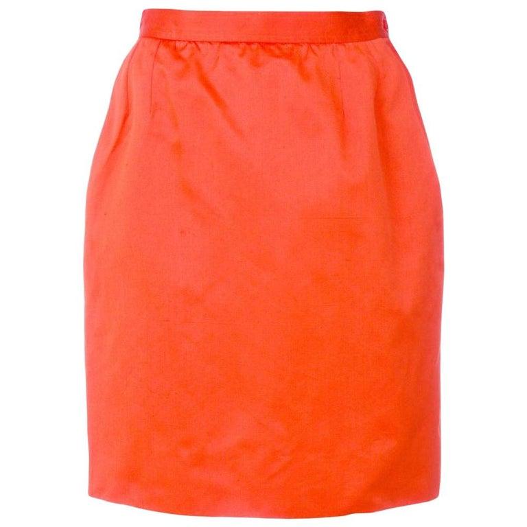 1980s Yves Saint Laurent Red Straight Skirt For Sale