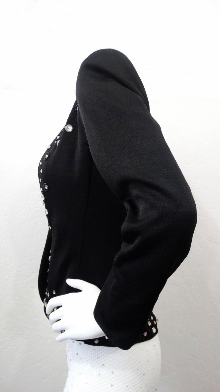 1980s Yves Saint Laurent Rhinestone Embellished Blazer  For Sale 3