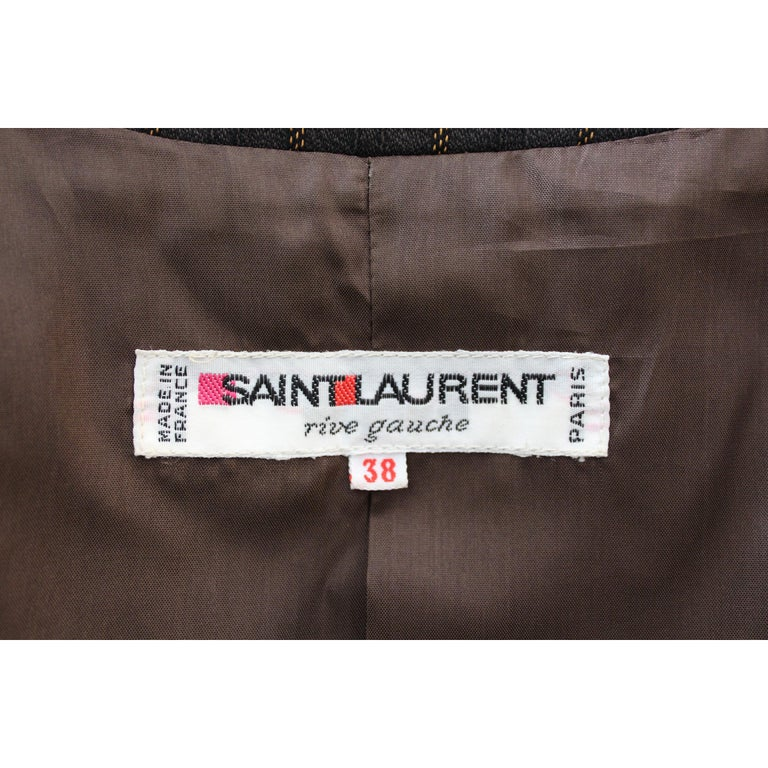 1980s Yves Saint Laurent Rive Gauce Brown Pinstripe Double Breasted Skirt Suit For Sale 5