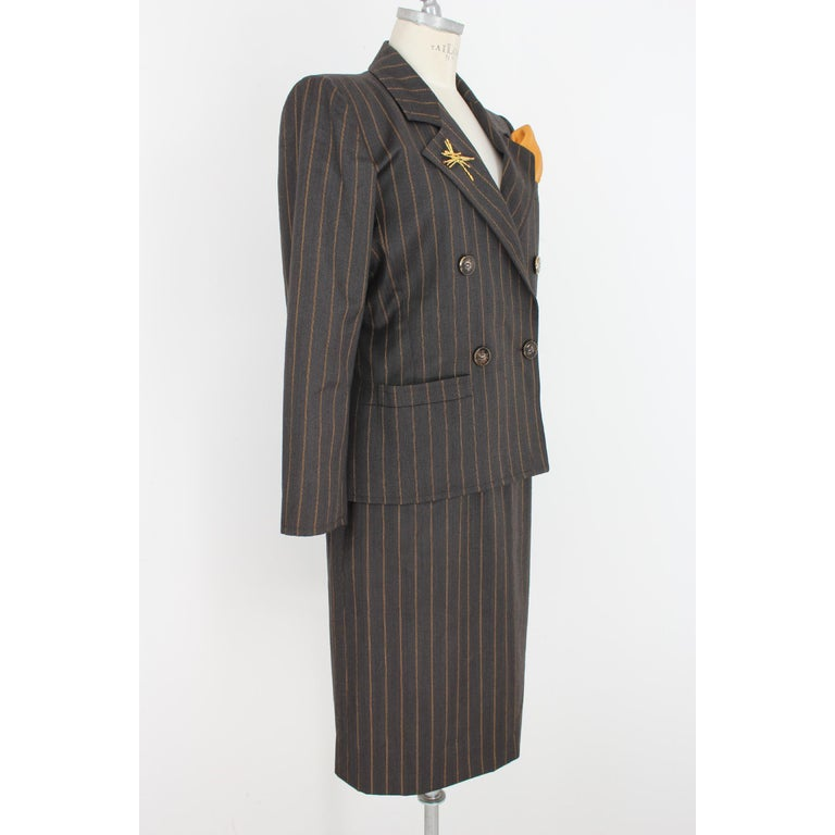 38a4202f77c 1980s Yves Saint Laurent Rive Gauce Brown Pinstripe Double Breasted Skirt  Suit