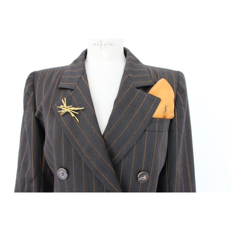 1980s Yves Saint Laurent Rive Gauce Brown Pinstripe Double Breasted Skirt Suit In Excellent Condition For Sale In Brindisi, Bt