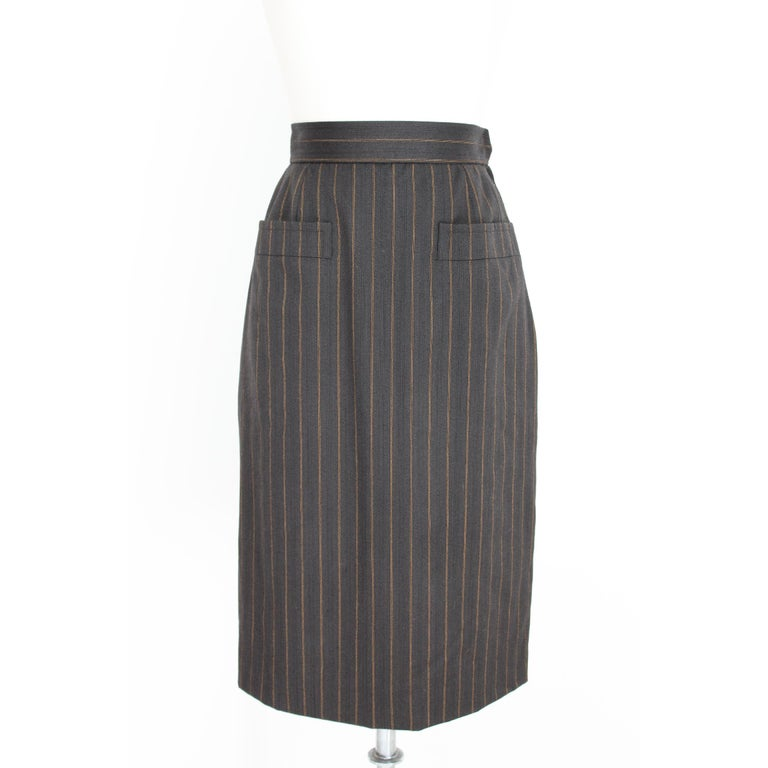 Women's 1980s Yves Saint Laurent Rive Gauce Brown Pinstripe Double Breasted Skirt Suit For Sale