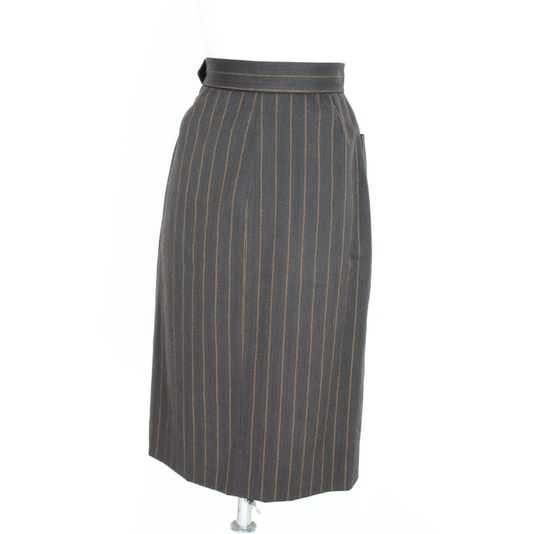 1980s Yves Saint Laurent Rive Gauce Brown Pinstripe Double Breasted Skirt Suit For Sale 1
