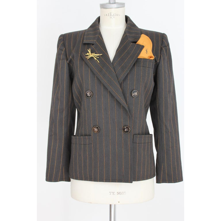 1980s Yves Saint Laurent Rive Gauce Brown Pinstripe Double Breasted Skirt Suit For Sale 2
