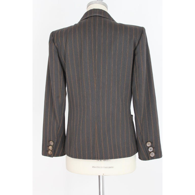 1980s Yves Saint Laurent Rive Gauce Brown Pinstripe Double Breasted Skirt Suit For Sale 3