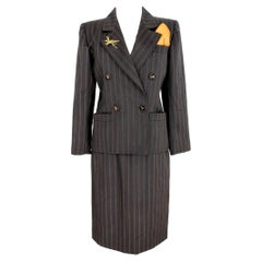 1980s Yves Saint Laurent Rive Gauce Brown Pinstripe Double Breasted Skirt Suit