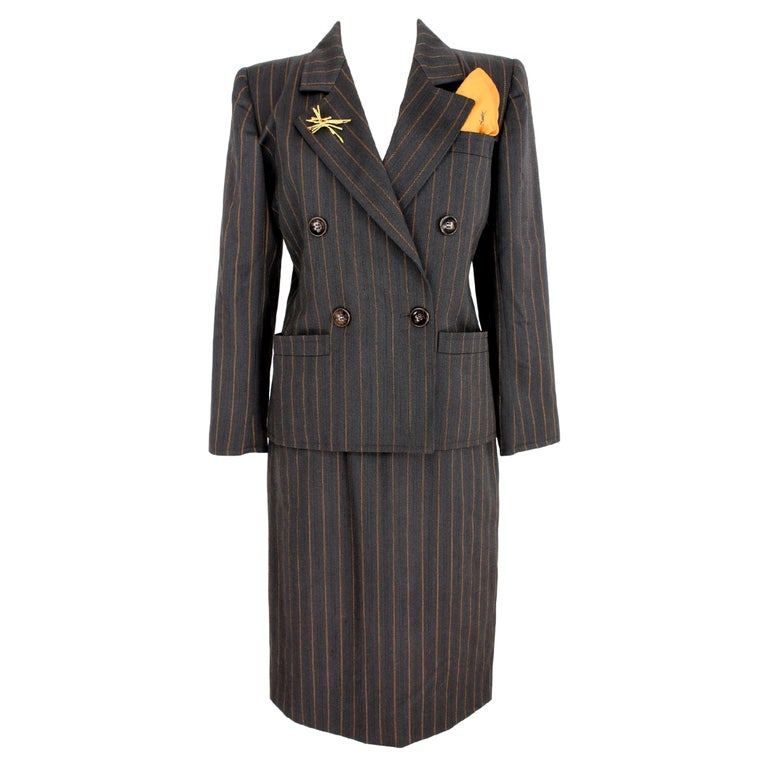 1980s Yves Saint Laurent Rive Gauce Brown Pinstripe Double Breasted Skirt Suit For Sale