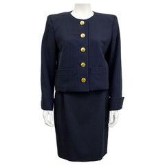 1980s Yves Saint Laurent Rive Gauche Black Skirt Suit