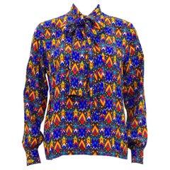 1980s Yves Saint Laurent Rive Gauche Blue Navajo Print Shirt