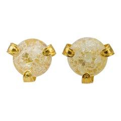 1980s Yves Saint Laurent Rive Gauche Glass and Gold Earrings