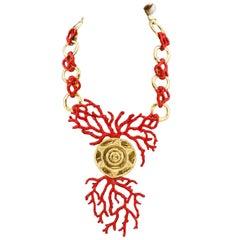 1980s Yves Saint Laurent Rive Gauche Red Enamel & Gold Coral Necklace