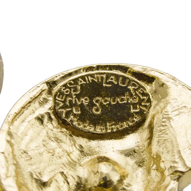1980s Yves Saint Laurent Rive Gauche Topaz & Gold Tone Pin For Sale 1