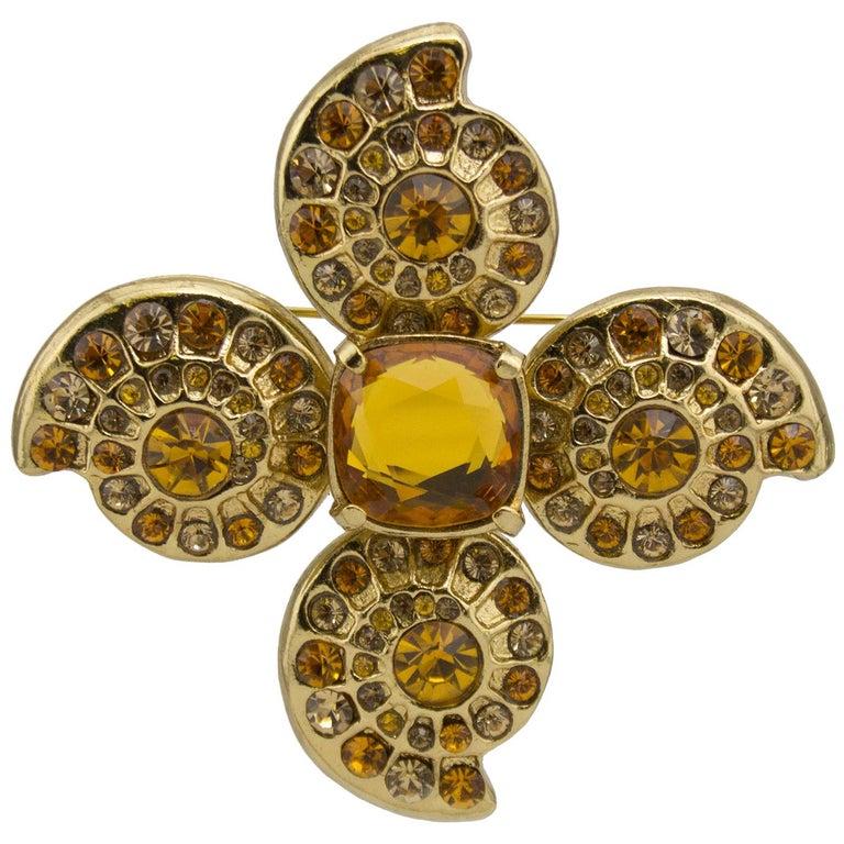 1980s Yves Saint Laurent Rive Gauche Topaz & Gold Tone Pin For Sale