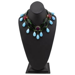 1980s Yves Saint Laurent Rive Gauche Turquoise, Red & Green Beaded Necklace