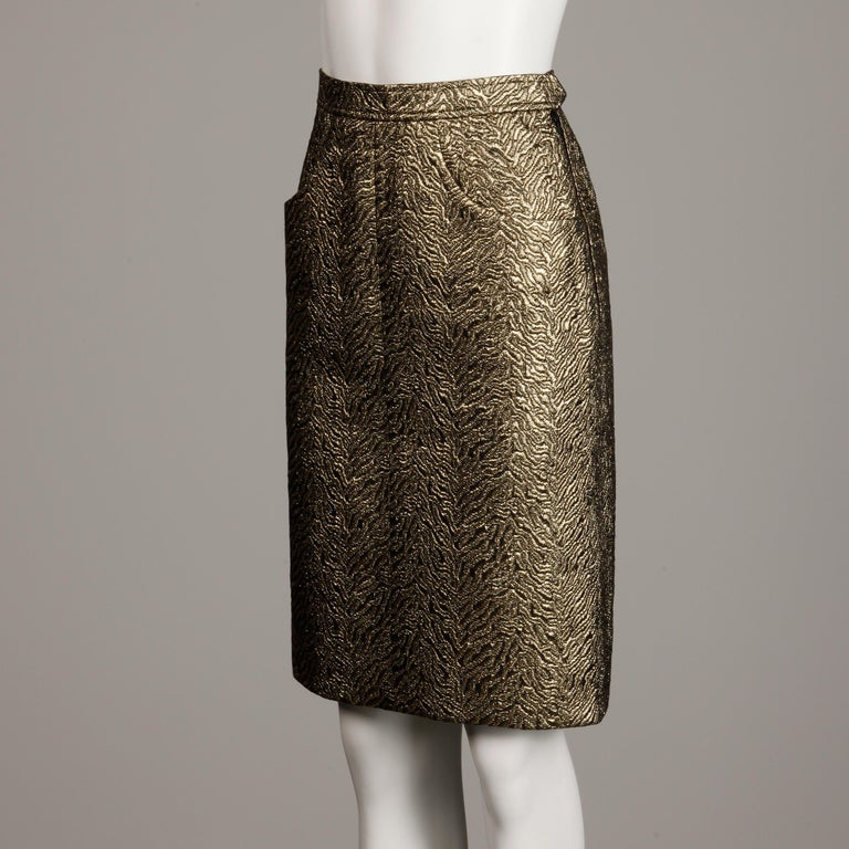 Brown 1980s Yves Saint Laurent Rive Gauche Vintage Quilted Metallic Gold Pencil Skirt For Sale