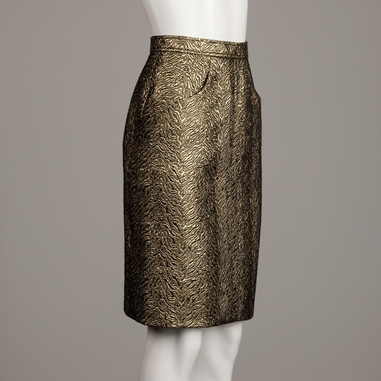 Women's 1980s Yves Saint Laurent Rive Gauche Vintage Quilted Metallic Gold Pencil Skirt For Sale