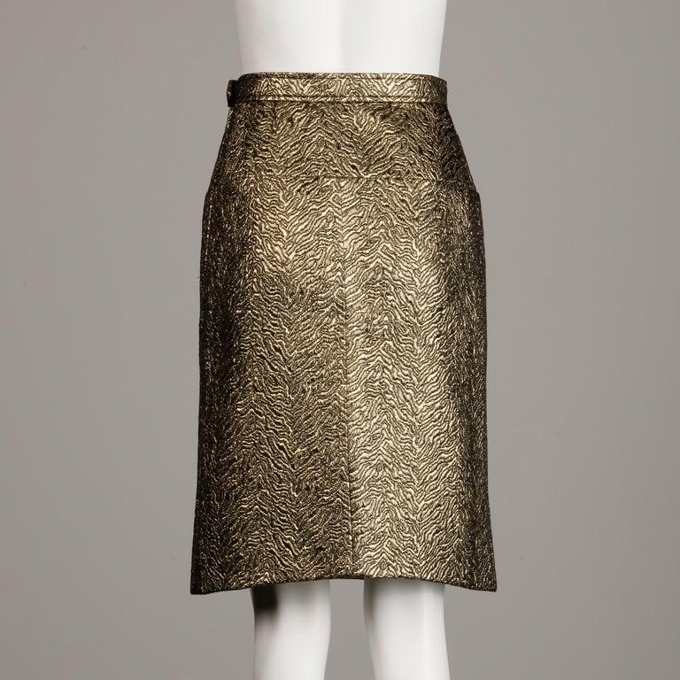1980s Yves Saint Laurent Rive Gauche Vintage Quilted Metallic Gold Pencil Skirt For Sale 1